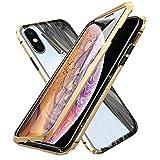 Oihxsetx Schutzhülle für iPhone XS, magnetische Adsorption, doppelseitig, gehärtetes Glas,...