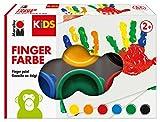 Marabu 0303000000085 - Kids Fingerfarbe Set mit 6 leuchtenden Farben a 35 ml, parabenfrei, vegan,...