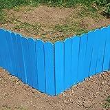 LIZI Zaun Massivholz-Gartenzaun Blau Cut-in Rasenkante Innen- und Außen Pflanze/Blume Schutz...