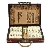 Reise Mahjong 144 PCS Tragbarer Mah-Jongg Mit Archaistischer Lederbox Und Handbuch In Englisch