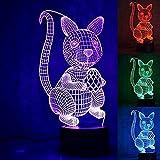 XLLJA Fernbedienung Nachttischlampe,New 3D Animal Squirrel Night Light Illusion Lamp 7 Color Change...