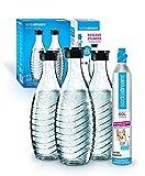 Sodastream Promopack Zylinder mit Glaskaraffe (1 x CO2-Zylinder für 60L und 3 x 0,6L Glaskaraffe,...