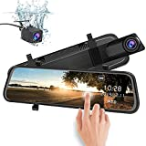 AWESAFE Rückspiegel Kamera Dual Autokamera 1080P 10 Zoll FHD Touchscreen 170 Grad Weitwinkel mit...