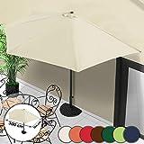 MIADOMODO Sonnenschirm 300cm - Halbrund mit Handkurbel, Farbwahl, UV-Schutz - Wandschirm,...