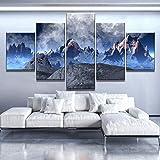 Leinwand HD-Drucke Wandkunst für Wohnaccessoires 5-teilige Kunst Unreal Snow Mountain Decoration...