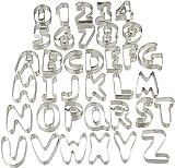 Relaxdays 10024276, silber Pltzchen Ausstecher, 36-teiliges Set, Ausstechformen Buchstaben & Zahlen,...