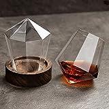 MOLLYNANA Diamant Whiskygläser?Scotch Gläser mit Untersetzer, Geburtstag und Weihnachten