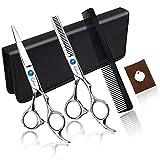 Qhui Haarschere Set, 2 Extra Scharfe Haarschneideschere mit Etui, Licht Friseurscheren mit...