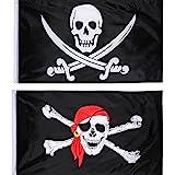 Hestya 2 Stck Jolly Roger Piraten Flagge Schdel Flagge fr Piraten Party, Geburtstagsgeschenk,...