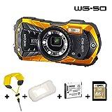 Ricoh WG-50 orange, wasserdicht, Kit mit Schwimmgurt, Silikonschutzhlle, 32 GB SD, zweitem Akku