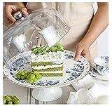 PETAAA Keramik Kuchenteller mit Kunststoffdeckeln, Hotel-Dekoration Dessert Tortenplatte Obst...
