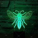Fliegenmodellierung Mehrfarbige 3D-Nachtlicht-USB-Tischtischlampe Umweltfreundliche LED-Atmosphäre...