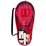 Wilson Starter Set für Kinder, Roger Federer 25, 9-12 Jahre, rot/schwarz, WRT214000