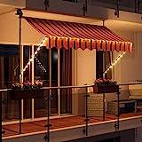 Swing & Harmonie LED - Markise mit Kurbel Klemmmarkise Balkonmarkise mit Beleuchtung und Solarmodul...