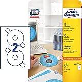 AVERY Zweckform L6015-25 selbstklebende CD-Etiketten inkl. Zentrierhilfe (blickdichte CD-Aufkleber,...