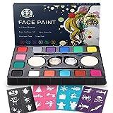 Dookey Kinderschminke Set, Hochwertiges 14 Schminkfarben Face Paint mit 24 Malerschablonen,...