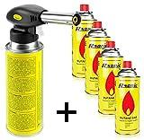 RSonic Lötbrenner Bunsenbrenner Gasbrenner Lötlampe aus Metall mit Piezozündung (mit 4...