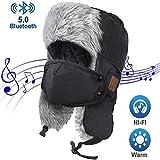 YYXA Bluetooth Musik-Kappe Winter-Kavallerie Kommando Windundurchlässiges Earmuffs Faux Fur-Lined...