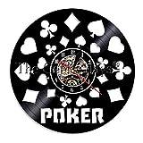Schallplattenwanduhr 1-teiliges Poker King Card LED-Licht beleuchtete Spielkarten Holdem Vinyl...