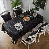 nobrand Einfache Baumwolle Leinen Tischdecke Schwarz und Weiß Geometrische Tischdecke Schreibtisch...