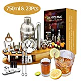 AYAOQIANG Cocktail Shaker Geschenk Edelstahl 24 Teiliges Cocktail Set Bar Zubehr Cocktailset 750 ML...