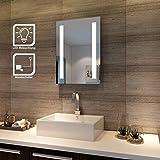 SONNI Badspiegel 45x60cm Spiegel (eckig) mit energiesparender LED-Beleuchtung kaltweiß IP44...
