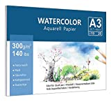 Premium Aquarellpapier (A3, 300 g/m², 10 Blatt), Lelengder Aquarellblock Glatt Watercolor Paper,...