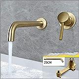 Vollkupfer in die Wand heißes und kaltes Wasser Ziehen Gold 25cm nicht rotierenden Mund...