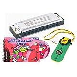 Voggys Mundharmonika Set Volt-Mundharmonika C-Dur Neopren-Tasche Mundharmonika-Schule Buch CD...