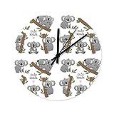 Wraill Koala Baum AST Nette Tiere Rund Wanduhr Großes Ohne Tickgeräusche Wanduhr Geräuscharm...