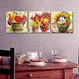ZXCVWY 3 Platten Blumenkörbe Moderne Malerei Druck Auf Leinwand Wandkunst Bild Home Decor Leinwand...