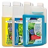 AQUALITY 3er Aquarium Starter- & Pflege-Sparset (Algenvernichter, Wasseraufbereiter, Filtermedium -...
