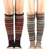American Trends Damen Beinstulpen für Mädchen Bohemian Beinwärmer Overknee hoch gestrickt lange...