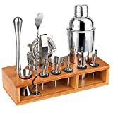 Hossejoy Hochwertiges Cocktailshaker Set,14 Teilig, mit Bambus-Aufbewahrung, inkl. Cocktail-Shaker,...