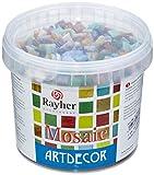 Rayher Glas Mosaiksteine, Bunt gemischt, Eimer 1kg (ca. 1300 Stück), 1 x 1 cm