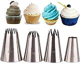 4 große Spitzen Set – ideal für Weihnachten, Edelstahl Frost Düse DIY Werkzeuge für Cupcakes,...