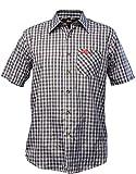 Fifty Five Herren Kurzarm Hemd Andre Black/Grey karriert 2XL Wanderhemd Funktions Shirt