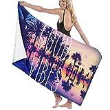 AGHRFH California Palms Good Vibes Strandtuch, Polyester, schnelltrocknend, weich, für Sommer,...