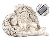 Lunartec Grablicht: Schlafende Solar-LED-Schutzengel-Figur, 16 cm, fr innen & auen (Engel mit LED)