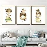 XWArtpic Cartoon Niedlichen Tier Lustige Hühnerfink Vogel Bücher Kinderzimmer bibliothek...