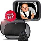 Systemoto Baby Safety Bundle, Rücksitzspiegel + Sonnenschutz Auto mit UV Schutz (2er Set) - Baby...
