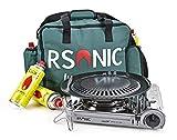 RSonic Gaskocher Campingkocher RS-3500C Silber Keramikkopf 1,5kW + Tasche + 4 Kartuschen | Silber...