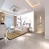 Fototapete 3D Effekt Einfacher Blühender Pfirsichbaum 450Cmx350Cm,Vlies Wand Tapete Wohnzimmer...