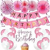 BeParty Geburtstagsdeko Happy Birthday Girlande + Ballons + Banner + Flag + String | Alles Gute zum...