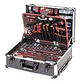 Ribimex PRKOUT356VAR Werkzeugkoffer 356 Teile auf Rollen, schwarz und rot