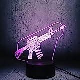 Tianyifengg 3D-LED-7 Farbe-Fernbedienung-Nachtlicht-Cool Maschinenpistole Spielzeug Nachtlichter...