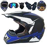 CCZC Weißer Kinder Motocross Helm mit Brille Handschuhe Maske Motorrad Crosshelm Off Road Helm...