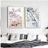 WQFairy Moderne Blume Und Vogel Leinwand Malerei Chinesischen Stil Drucken Wandkunst Poster...