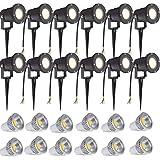 SAILUN 12 x 3W LED Gartenleuchte Rasen Licht mit Erdspieß, Matt-Schwarz, Warmweiß 85-265V,...