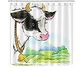 WS Farm Duschvorhang, wasserfest, Kuh, wasserfest, für Badezimmer, Innenbereich, 12 Haken, 183 cm...